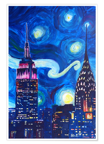 Premium-Poster Sternennacht in New York - Van Gogh Inspirationen in Manhattan