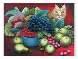 Poster  Cat and Fruit - Jerzy Marek