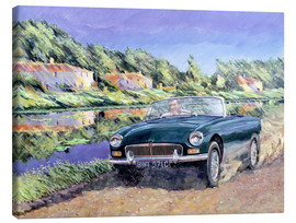 Leinwandbild  MGB by a French Canal - Clive Metcalfe