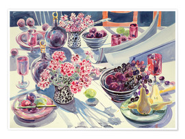 Premium-Poster  Black Maroon and white Kitchen Table - Elizabeth Jane Lloyd