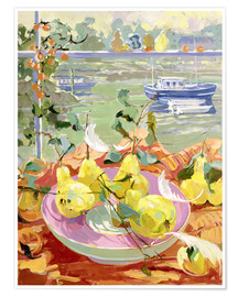 Poster Pink Plate of Pears