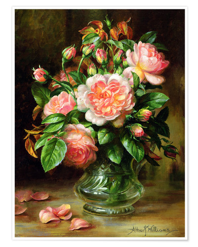 Premium-Poster English-Elegance-Rosen in Glasvase