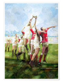 Poster Rugby Match: Llanelli v Swansea, Line Out, 1992