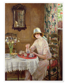 Premium-Poster  Nachmittagstee - William Henry Margetson