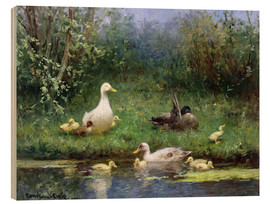 Holzbild  Enten am Flussufer - David Adolph Constant Artz