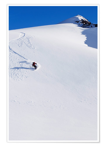 Premium-Poster Snowboarder in den Chugach Mountains