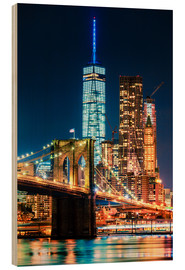 Holzbild  Brooklyn Bridge und World Trade Center - Sascha Kilmer