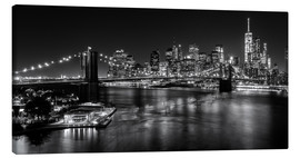 Leinwandbild  New York City by Night (monochrom) - Sascha Kilmer