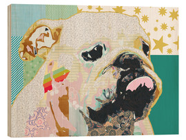 Holzbild  Bulldogge Collage - GreenNest