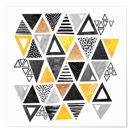 Poster  Triangle abstract   Black and yellow - Elisabeth Fredriksson