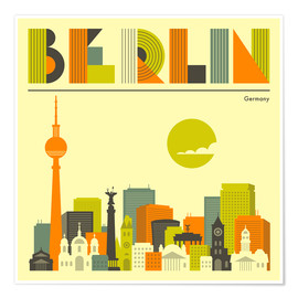 Poster  Berlin Skyline - Jazzberry Blue