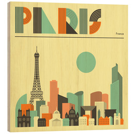 Holzbild  Paris Skyline - Jazzberry Blue