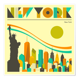 Poster   New York  - Jazzberry Blue
