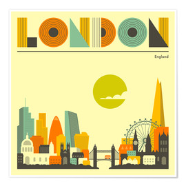 Premium-Poster  London Skyline - Jazzberry Blue