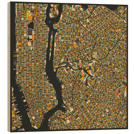 Holzbild  New York Karte - Jazzberry Blue