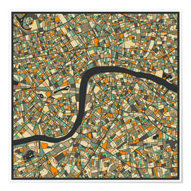 Premium-Poster  London Karte - Jazzberry Blue