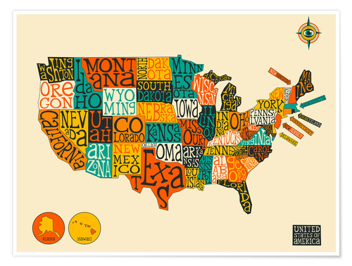 Jazzberry Blue United States Map Poster online bestellen ...