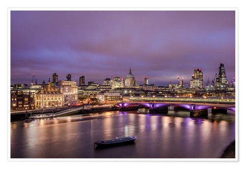 Premium-Poster London Skyline bei Nacht