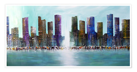 Premium-Poster Blue Skyline City