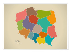 Premium-Poster Polen Landkarte Modern Map Artwork Design