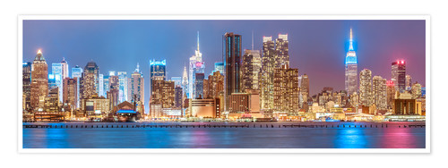 Premium-Poster New York Neon Colors Skyline