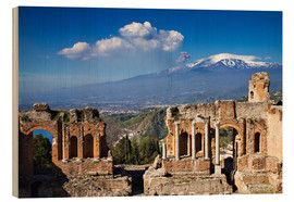 Holzbild  Griechisches Theater in Taormina, Sizilien - Circumnavigation