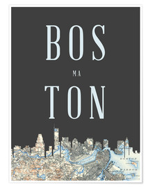 Premium-Poster Boston Skyline Karte