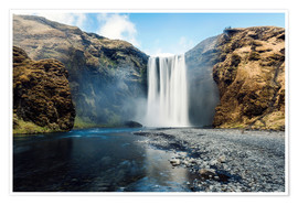 Premium-Poster  Skogafoss Wasserfall - Images Beyond Words