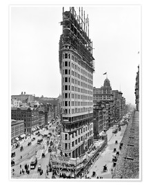 Premium-Poster New York City 1903, Flatiron Building im Bau