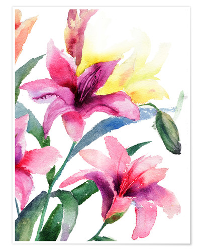 Premium-Poster Lilien in Pink