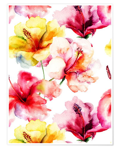 Premium-Poster Lilienblüten in Aquarell