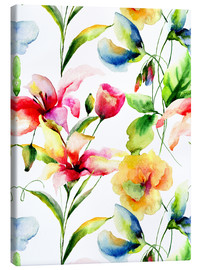 Leinwandbild  Wildblumen in Aquarell