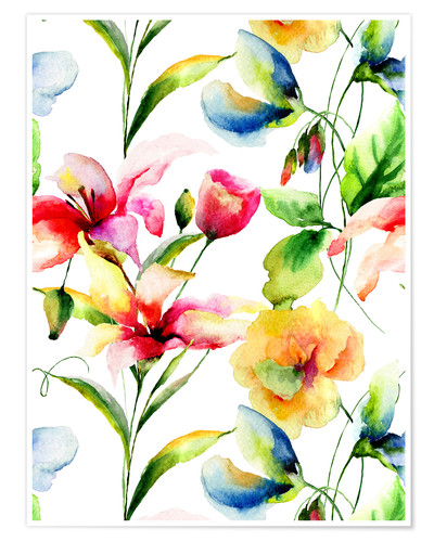 Premium-Poster Wildblumen in Aquarell