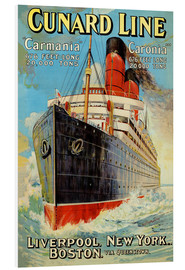 Hartschaumbild  Cunard Line ? Liverpool, New York, Boston - Edward Wright