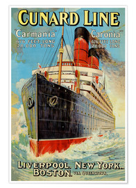 Premium-Poster  Cunard Line ? Liverpool, New York, Boston - Edward Wright
