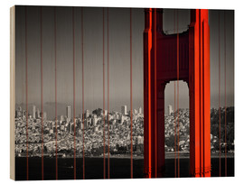 Holzbild  Golden Gate Bridge im Detail - Melanie Viola