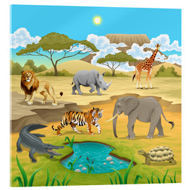 Acrylglasbild  Afrikanische Tiere in der Savanne - Kidz Collection
