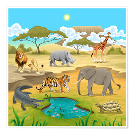 Premium-Poster  Afrikanische Tiere in der Savanne - Kidz Collection