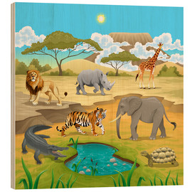 Holzbild  Afrikanische Tiere in der Savanne - Kidz Collection