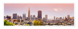 Premium-Poster San Francisco Skyline Red