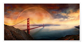Premium-Poster Frisco Golden Gate Rainbow