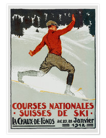 Premium-Poster Courses nationales suisses de ski / La Chaux de Fonds