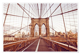 Premium-Poster New York Brooklyn Bridge und die Skyline der Stadt