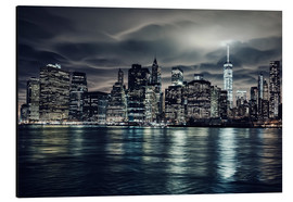 Alu-Dibond  Manhattan bei Nacht, New York City