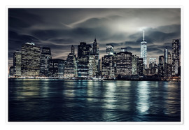 Premium-Poster  Manhattan bei Nacht, New York City