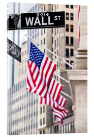 Acrylglasbild  Wall Street-Zeichen mit New York Stock Exchange