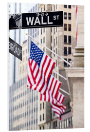 Hartschaumbild  Wall Street-Zeichen mit New York Stock Exchange