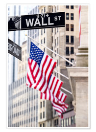 Premium-Poster  Wall Street-Zeichen mit New York Stock Exchange