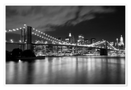 Premium-Poster  Brooklyn Bridge - Nachtszene