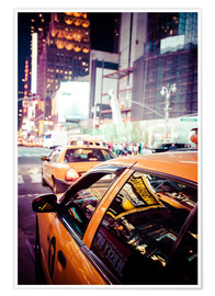 Premium-Poster Yellow Cabs and city lights